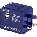 GM Atlas Universal Travel Adaptor with 2.1A USB Charger (Colour May Vary)