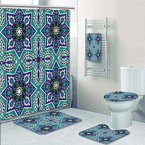 Printsonne 5-piece Bathroom Set-Includes Shower Curtain Liner, Islamic Art ative Persian Art Cobalt Blue TealPrint Bathroom Rugs Shower Curtain/Bath Towls Sets(Medium size) by Printsonne