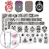 Born Pretty Nail Art Stamp Stamping Templates Stamper Scraper Kit- 4 trim Plates Set with 1 Polish Stamper by Salon Designs