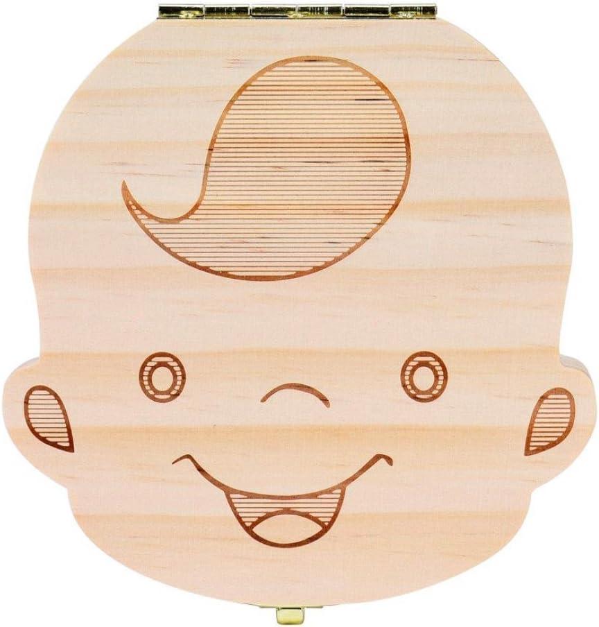 DaoRier Baby Wooden Teeth Box Personalized Teeth Keepsake Box for Girls