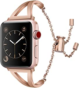 Mobile Advance Metal Band Bracelet for Apple Watch Series 5/4/3/2/1 (Rose Gold, 42mm/44mm)