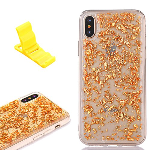 XB Bling Glitter Tinfoil Paper Paillette Soft TPU Transparent Slim Cover, Shiny Insert Sparke Platinum Ultra Thin Crystal Clear Shell for Apple iPhone X 5.8