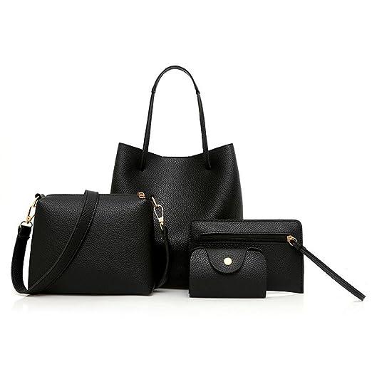 Sunyastor Handbags for Women 4Pcs Pattern Leather Handbag+Crossbody Bag+Messenger Bag+Card