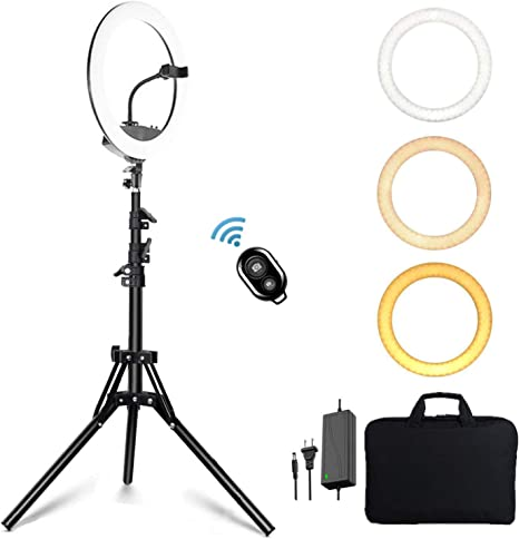 Keayeo 14 Selfie Ring Light with Adjustable Tripod Stand and Phone Holder for Live Stream Makeup Photography Compatible for iPhone Android Dimmable Led Camera Beauty Ringlight for YouTube Video