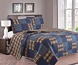 quilts americana - 3-Piece Quilt Set with Shams. Durable All-Season Polyester Bedspread and Shams with Plaid Americana Pattern. Canyon Collection By Great Bay Home Brand. (Twin)