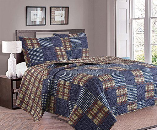 3-Piece Quilt Set with Shams. Durable All-Season Polyester Bedspread and Shams with Plaid Americana Pattern. Canyon Collection By Great Bay Home Brand. (Full/Queen)
