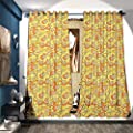 Window Curtain Drape Drawing Artwork of Stringed Instruments with Fretboards Teenage Fun Entertainment Blackout Draperies for Bedroom Orange Yellow