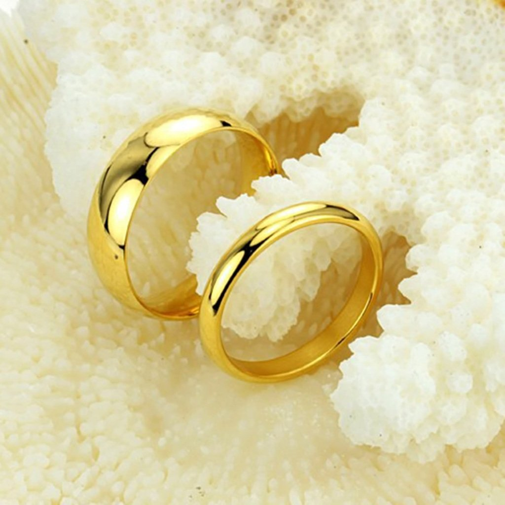 Bishilin Stainless Steel 6MM Men Gold Plated Couple Wedding Bands Plain for Him Size 8