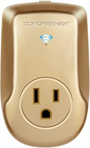 TOPGREENER TGWF115APM, Gold Wi-Fi Powerful Plug with Energy Monitoring, Smart Outlet, 15A, 1800W, No Hub Required, Compatible with Alexa and Google Assistant