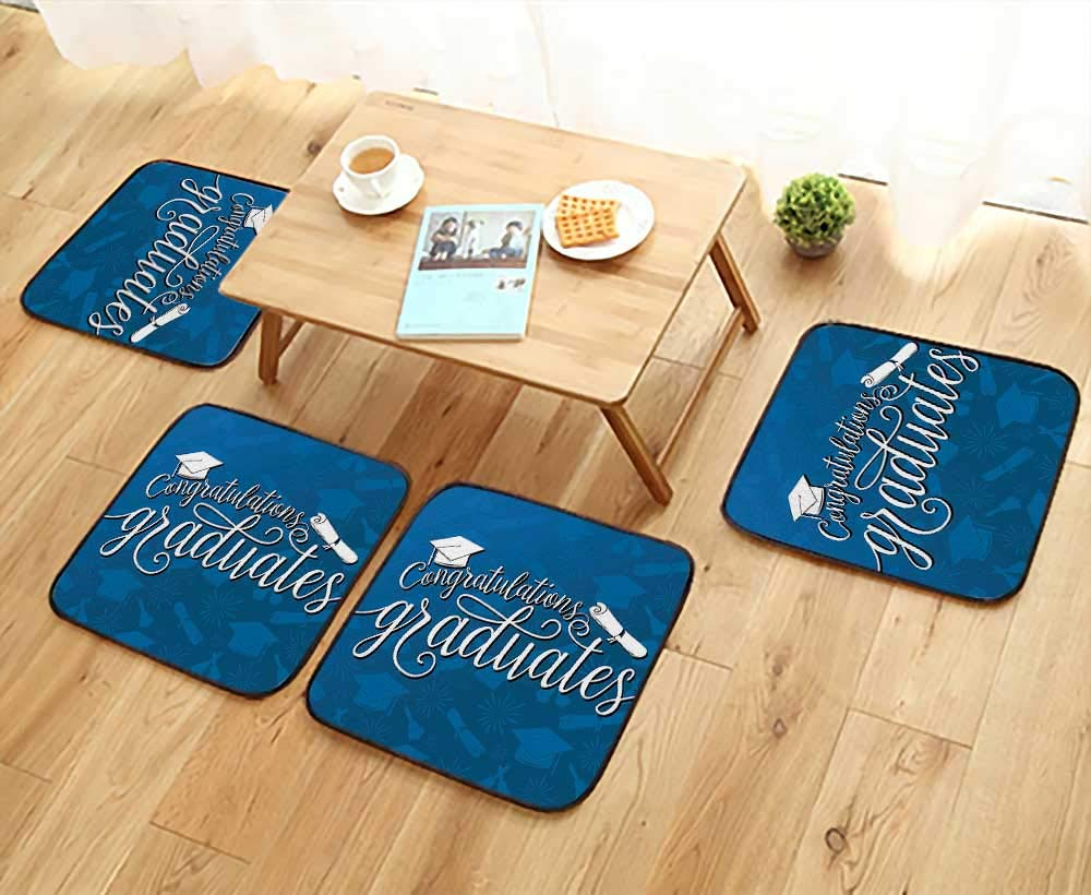 Leighhome Elastic Cushions Chairs College Celebration Ceremony Certificate Diploma Square Academic Cap Blue and White for Living Rooms W29.5 x L29.5/4PCS Set