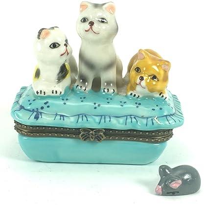Tres gatitos gatos en azul con caja de porcelana ebean