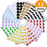 Hotop 13 Sheets Photo Corners Self Adhesive for DIY Scrapbook, Picture Album, Personal Journal, Dairy and More, Multicolored