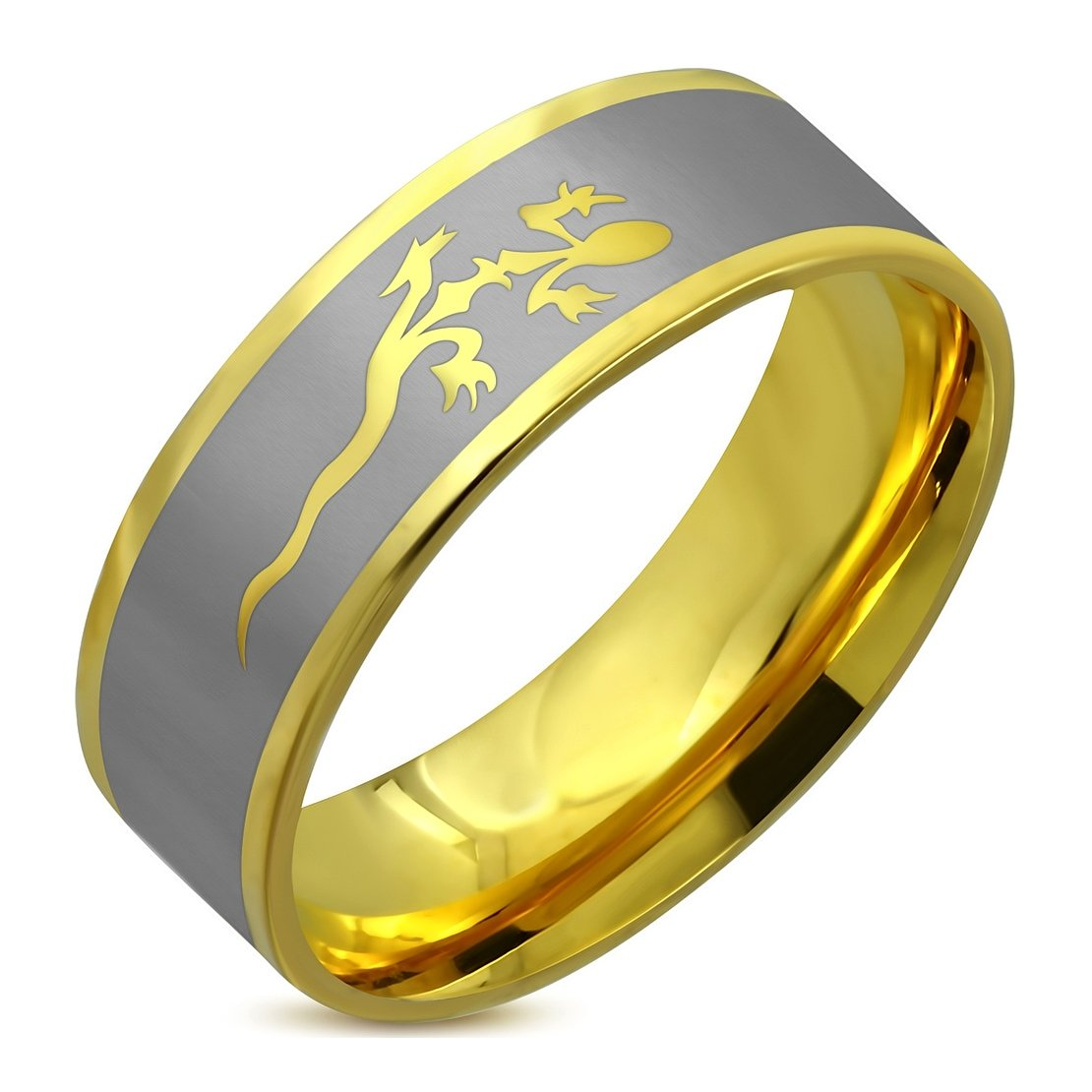 Stainless Steel Gold Color Plated 2 Color Spiral Lucky Lizard Comfort Fit Flat Band Ring