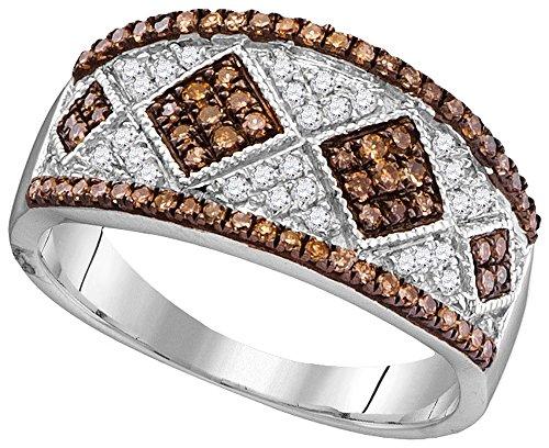 Oro blanco de 10K Sólido Redondo café chocolate y laterales de color blanco juego de clavijas de diamante cuadrado boda o...