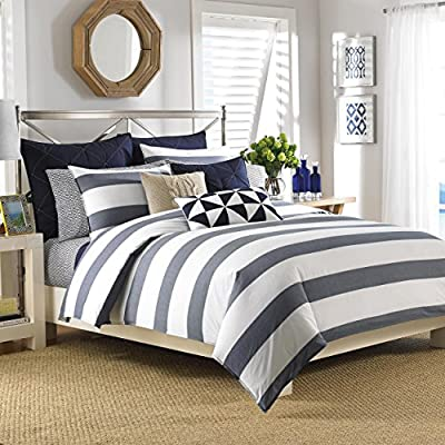 Nautica 199637 Yarn-Dye Comforter Set, Twin, Lawndale Navy - Set includes: Comforter, two (2) shams Style: Stripe Fabric detail: Woven - comforter-sets, bedroom-sheets-comforters, bedroom - 61RNdJfSqyL. SS400  -