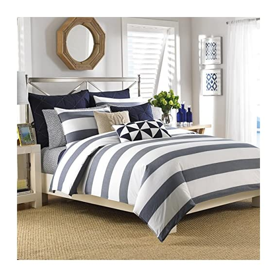 Nautica 199637 Yarn-Dye Comforter Set, Twin, Lawndale Navy - Set includes: Comforter, two (2) shams Style: Stripe Fabric detail: Woven - comforter-sets, bedroom-sheets-comforters, bedroom - 61RNdJfSqyL. SS570  -