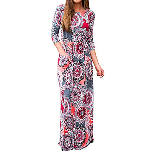1631b54d1278 Amazon.com: Ulanda Women Print Three Quarter Sleeve High Waist Boho Long  Maxi Dresses Pocket: Clothing