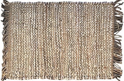"""AM Home Textiles Leather & Jute Braided Area Rug, Handmade in India (24""""x36"""") (Beige)"""