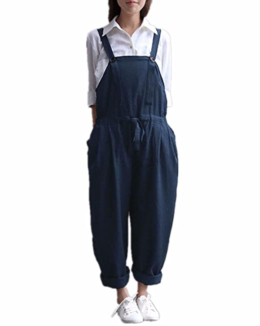 706d1c95505 Style Dome Women s Jumpsuit Loose Harem Trousers Wide Leg Pants Baggy  Playsuits Sleeveless Overalls Dungarees Navy