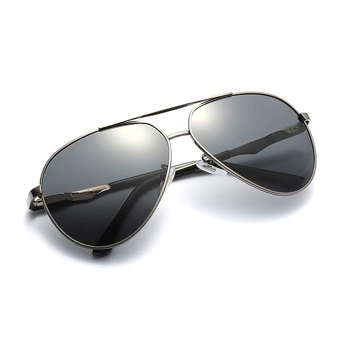 Gafas De Sol Hombre Aviador Clásico Marco Metal Polarizadas (gris, gris)