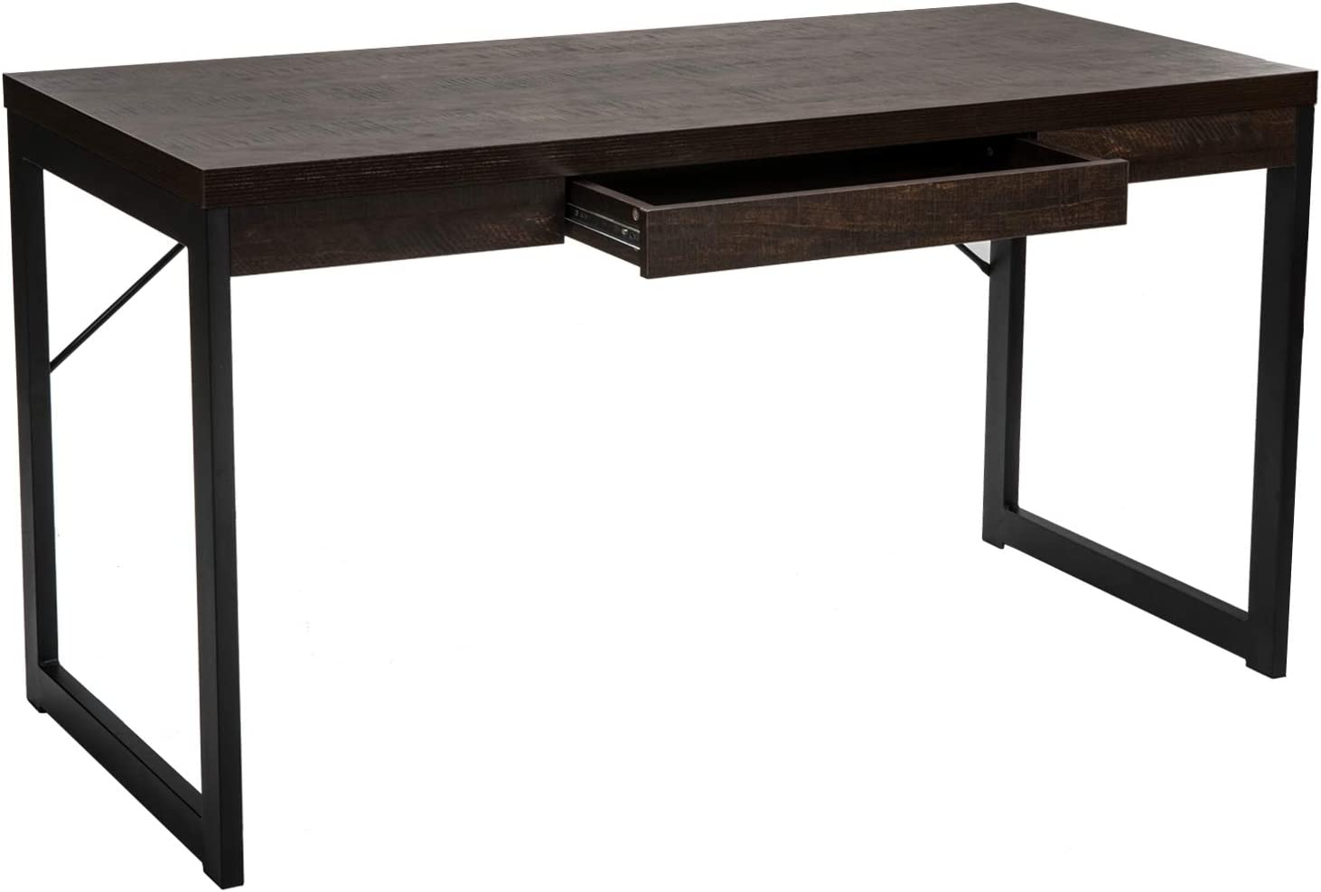 "IRONCK Computer Desk with Drawer 55"" Writing Desk, Industrial Office Desk Table for Home Office, Sturdy Metal Frame, Easy Assembly, Black Espresso"