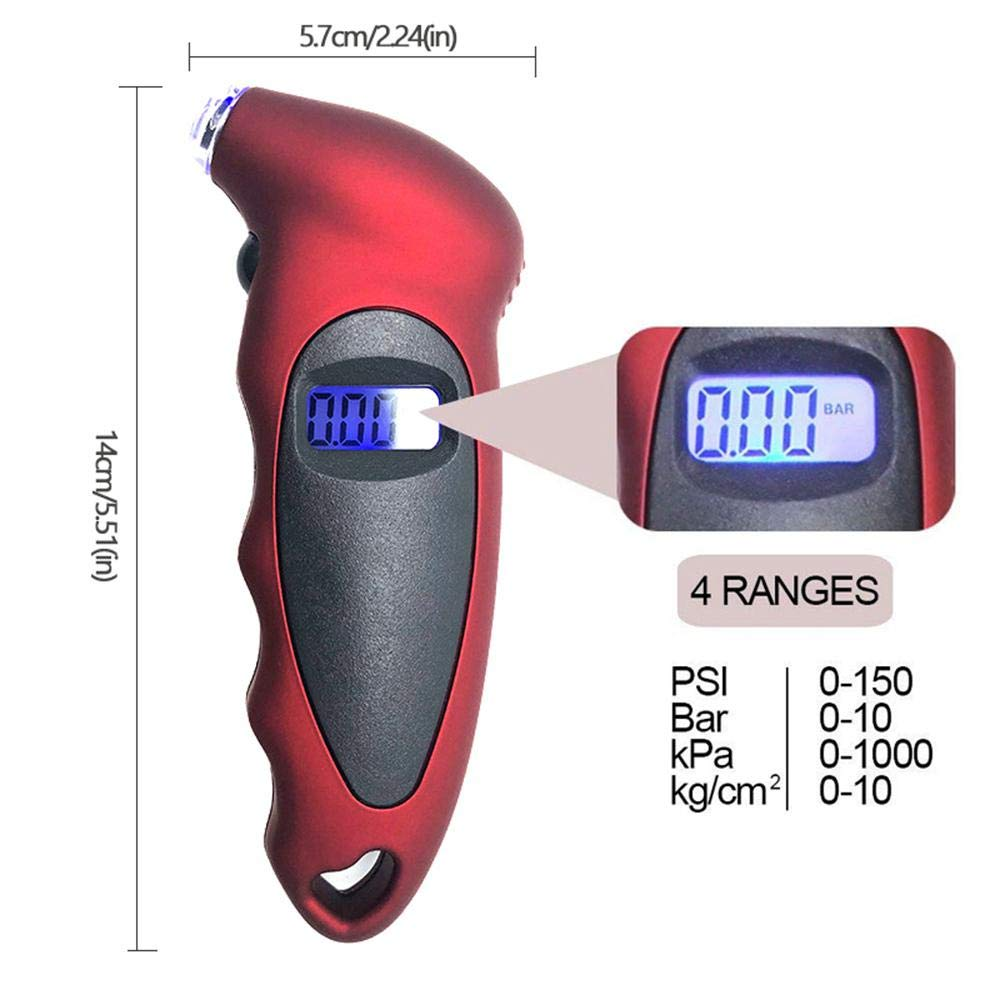 man/ómetro y comprobador de bar/ómetros para Coche Medidor Digital de presi/ón de neum/áticos de Coche con Pantalla LCD Motocicleta y Bicicleta cami/ón Teepao