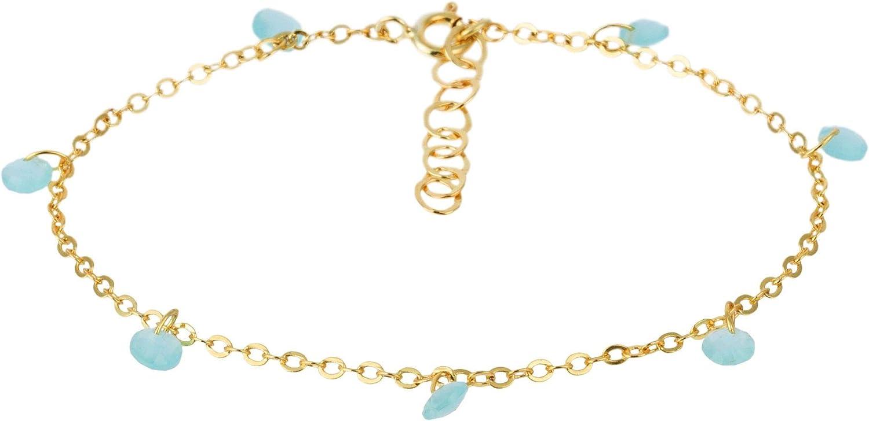 Córdoba Jewels | Pulsera en Plata de Ley 925 bañada en Oro con Piedra semipreciosa y Esmalte diseño Charms Aguamarina Gold