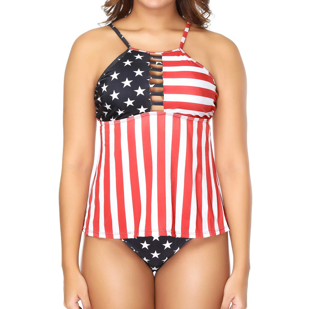 Two Piece Swimsuit Halter Neck Independence Day Print Tops Swimwear with Triangle Brief Bottom Bathing for Women (M, Multicolor)