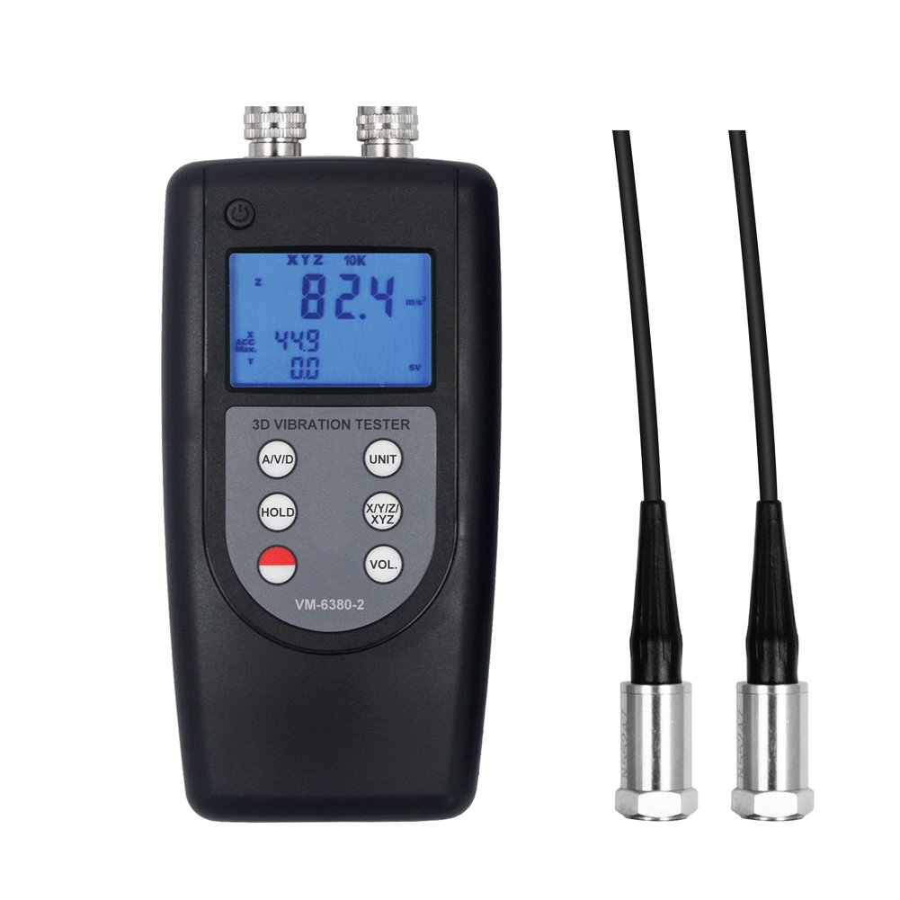 VM-6380-2 2 Channel Piezoelectric Tranducer Vibration Meter Accelerometer Vibrometer Gauge with RS232 Output