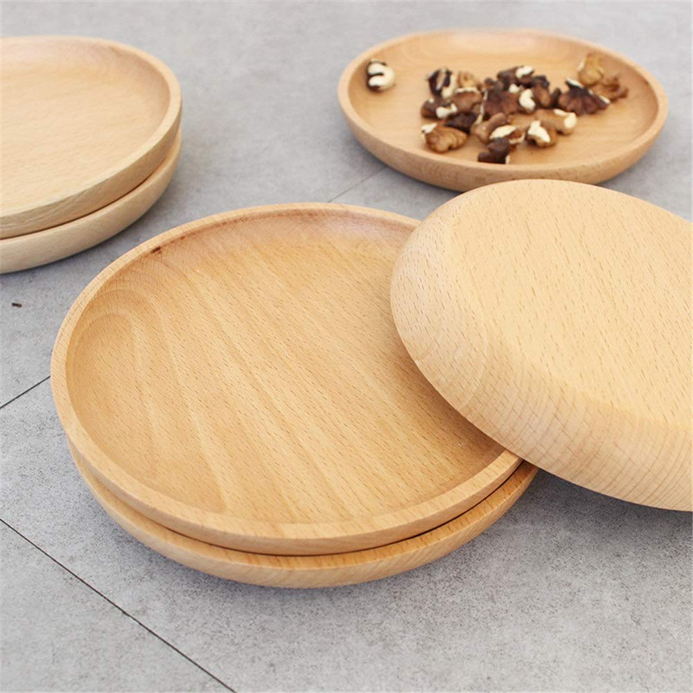 Zxcvlina-JJ Breakfast Serving Trays Japanese Style 4 Pack Round Solid Wood Wood Service Tray Classic Breakfast Food Cup Wood Plates Party Cake Snack Plate Dessert Serving Tray Dishes by Zxcvlina-JJ