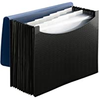 Smead Poly Expanding File Folder, 12 Pockets, 12 Customizable Tiered Tabs, Flap and Cord Closure, Letter Size, Wave Pattern Blue/Black (70863)