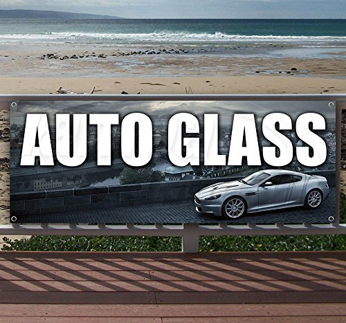 Auto Glass 13 oz heavy duty vinyl banner sign with metal grommets, new, store, advertising, flag, (many sizes - Banner Auto Glass