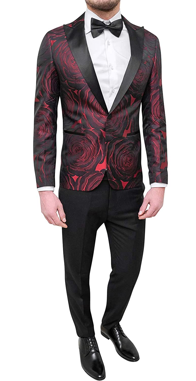 FB CLASS Sartoriale Abito Completo Uomo Sartoriale CLASS Rosso Tessuto Raso  Damasco Floreale Slim Fit Smoking Vestito Elegante 56 600f4d 89fa11e649ad