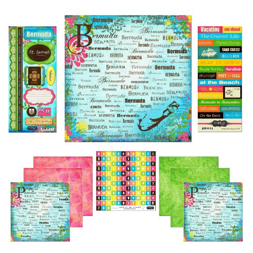 Tropical Scrapbook Stickers - Scrapbook Customs Themed Paper and Stickers Scrapbook Kit, Bermuda Paradise
