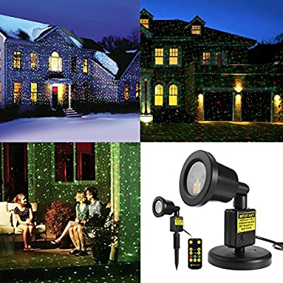 Christmas Laser Light Projector Waterproof with RF Wireless Remote, Red and Green Star show for Christmas, Holiday, Party, Landscape and Garden Decorations