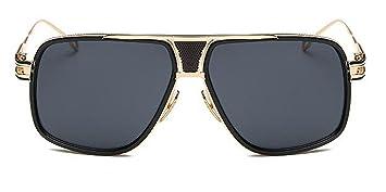 Herren Metall Sonnenbrille Retro Große Kasten-Sonnenbrille Klassisches Paar,Black-OneSize
