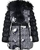 Lisa-Rella Girls' Quilted Down Coat with Real Fur Trim Herringbone/Roses Print, Sizes 6-16 (6)