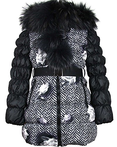 Lisa-Rella Girls' Quilted Down Coat with Real Fur Trim Herringbone/Roses Print, Sizes 6-16 (6) by Lisa-Rella