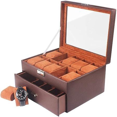 DKZK Caja para 20 de Relojes Organizador de Relojes Caja relojero Estuche relojero para almacenar Relojes, de Piel sintética: Amazon.es: Hogar