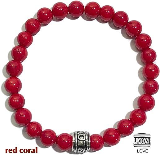 Coral rojo hematites Con cuentas Pulsera De Piedras Preciosas Naturales Piedra Curación Reiki Chakras