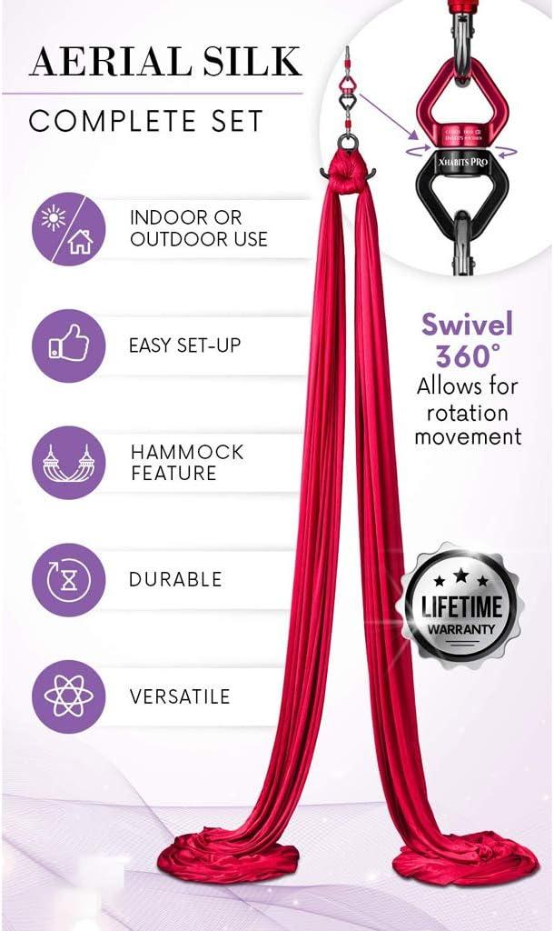DIMPLEYA Professionale Aerea Sete Apparecchiature di Media Stretch Aerea Yoga Dondolo Kit Perfetto per Interni Esterni Aeree Danza Circo Arts