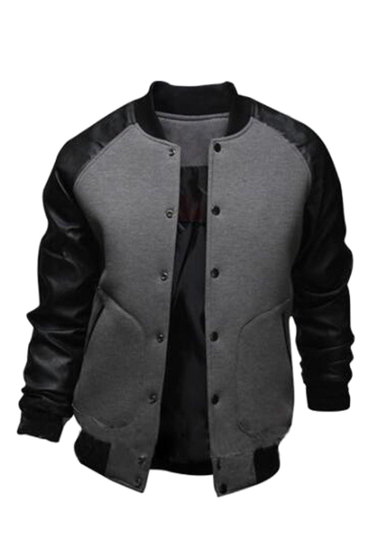 Vepodrau Men Baseball Jacket Classic Button Down Varsity Bomber Jackets Coat