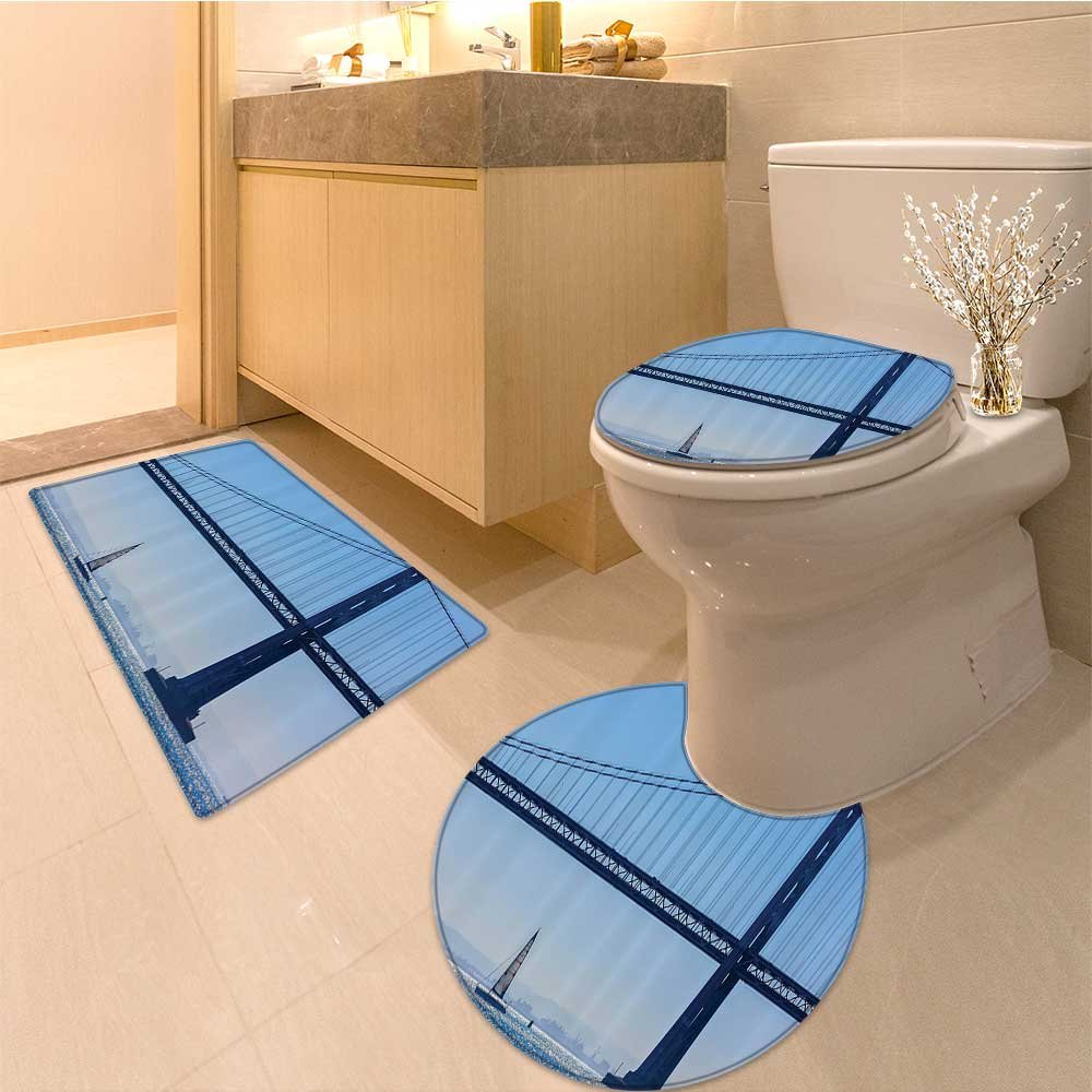 3 Piece Anti-slip mat set San Francisco Bay Bridge From Pier In California Usa Landmark Extralong Non Slip Bathroom Rugs