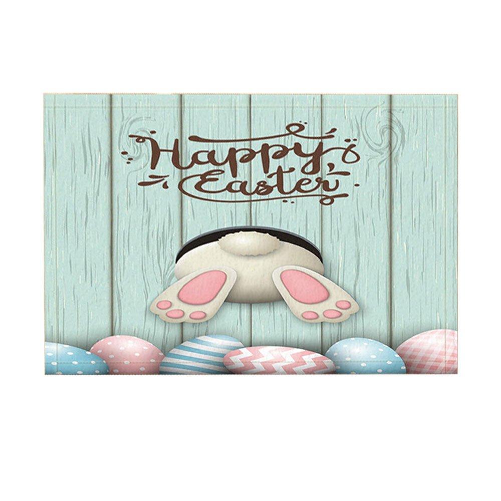 NYMB Cartoon Bath Rugs, Funny Rabbit Wooden Boart Easter Egg Pysanka Osterei, Non-Slip Doormat Floor Entryways Indoor Front Door Mat, Kids Bath Mat, 15.7x23.6in, Bathroom Accessories