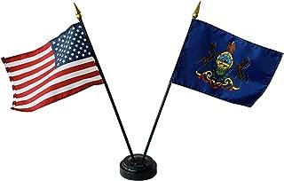 product image for 4x6 E-Gloss Pennsylvania Stick Flag w/U.S. Stick Flag & 2 Flag Plastic Table Base - Qty 1