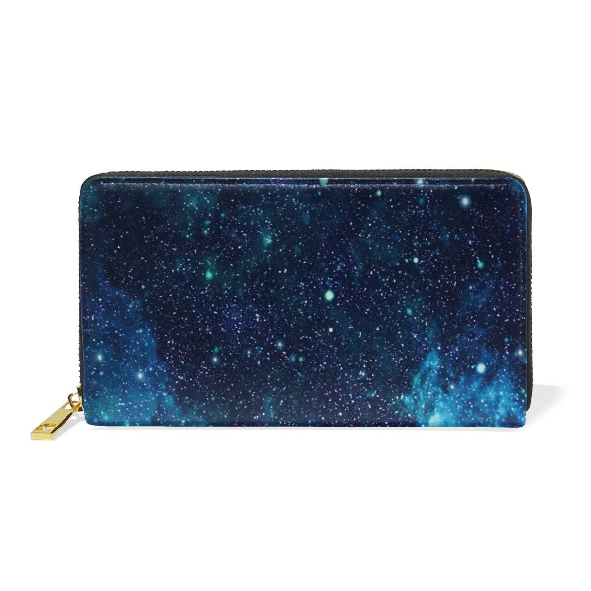 Womens Wallets Glittering Starry Sky Universe Leather Passport Wallet Coin Purse Girls Handbags