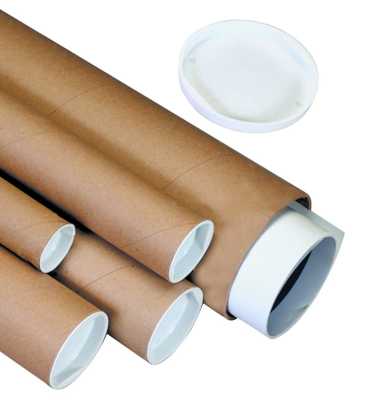 Aviditi P2022K Mailing Tubes with Caps, 2'' x 22'', Kraft (Pack of 50) by Aviditi