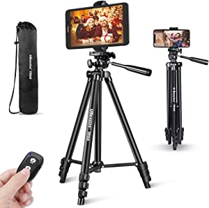Phone Tripod, UBeesize 50'' Extendable Lightweight Aluminum Tripod Stand with Universal Cell Phone/Tablet Holder, Remote Shutter, Compatible with Smartphone & Tablet & Camera.