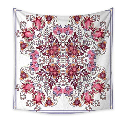 Batik Bedroom Tapestry Vintage Colored Spring Inspired Blooming Floral Motif Oriental Lace Bridal Artwork Room Tapestry Pink Lilac 55W x 55L Inch