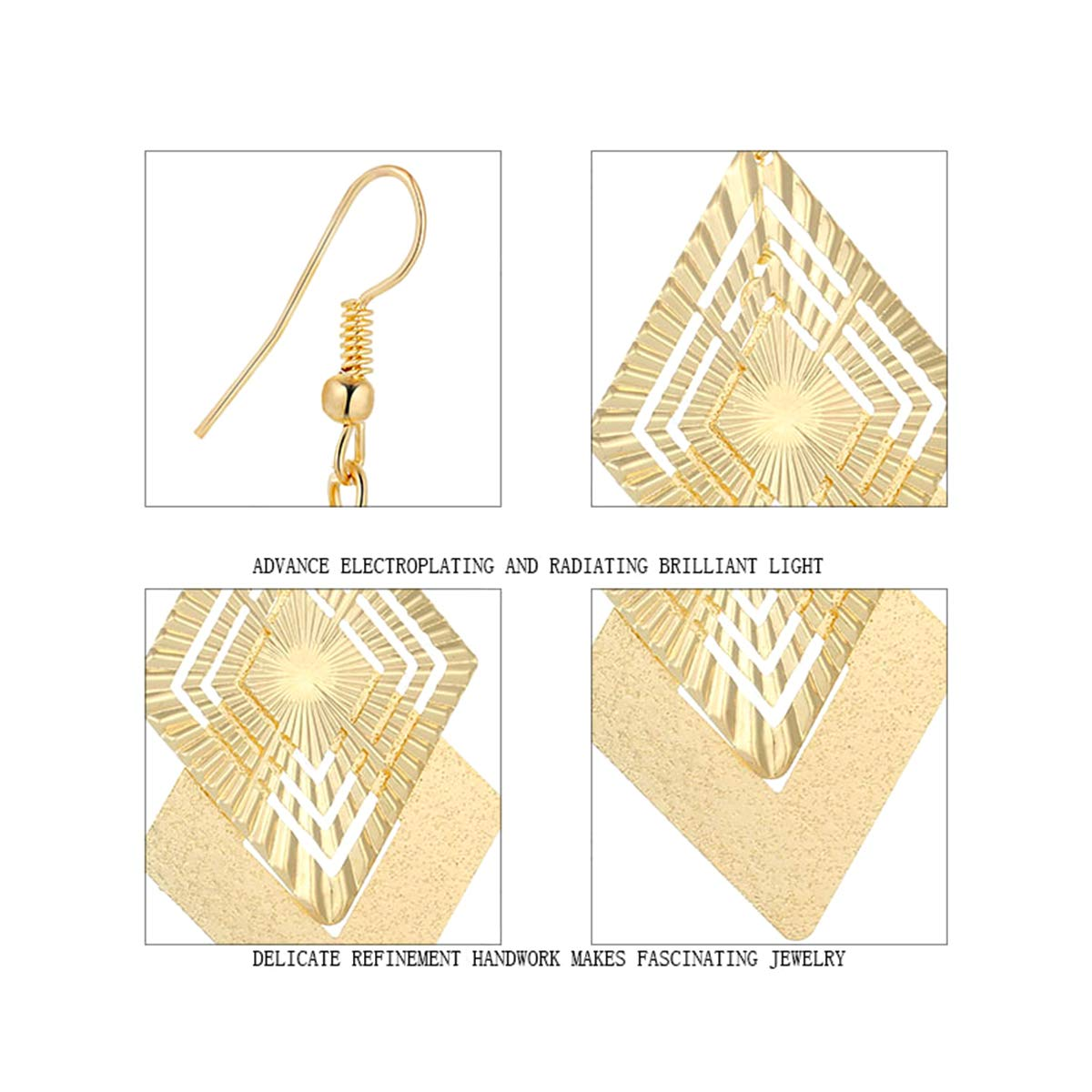 IDB Delicate Filigree Hollow Diamond Shape Dangling Drop Hook Earrings Gold Tone Available in Silver and Gold Tones